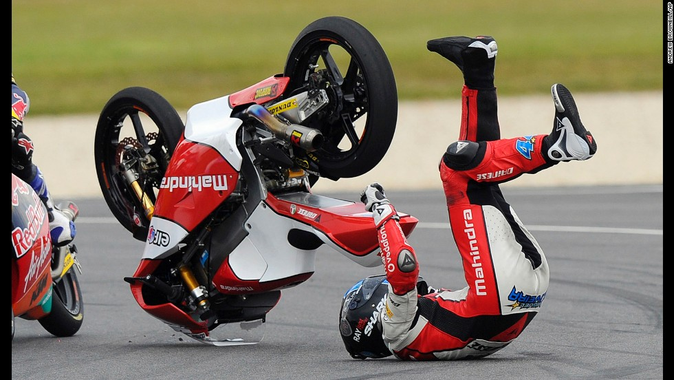 Miguel Oliveira of Portugal crashes during the Moto3 race at the Australian Motorcycle Grand Prix on October 20 in Phillip Island, Australia.