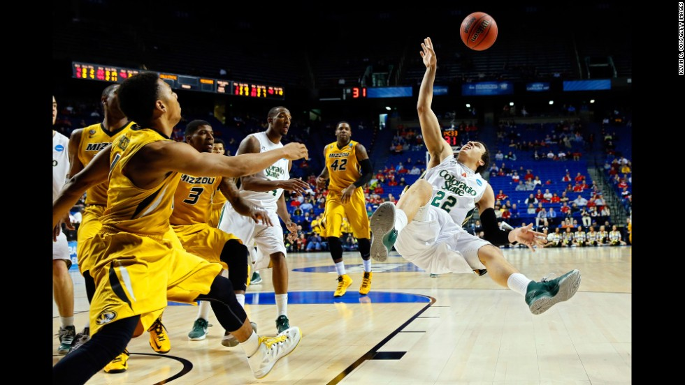 Dorian Green of the Colorado State Rams loses his balance after drawing contact against the Missouri Tigers during the second round of the 2013 NCAA Men's Basketball Tournament at the Rupp Arena in Lexington, Kentucky, on March 21. Colorado State won 84-72.
