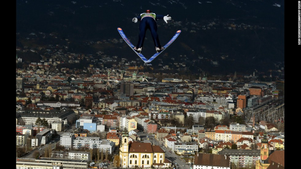 Anders Jacobsen of Norway competes during the training round for the FIS Ski Jumping World Cup event of the 61st Four Hills ski jumping tournament on January 3 in Innsbruck, Austria.