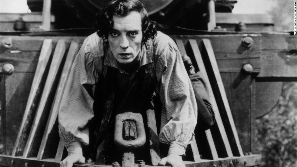 "Film critic Roger Ebert called <strong>Buster Keaton</strong> ""the greatest of the silent clowns."" Keaton performed in vaudeville theater as a child, where he first realized that audience responded with riotous laughter when he emerged from calamity with a unflinching appearance. The ""Great Stone Face"" created a character on film that was a point of calm in the midst of chaos. He uses this to great effect in the perilous <a href=""http://www.tcm.com/mediaroom/video/339435/General-The-Movie-Clip-Pursuit.html"" target=""_blank""><strong>train chase sequence</a></strong> from ""<strong>The General""</strong> (1927) where he pursues the villains on the cowcatcher of a speeding locomotive."