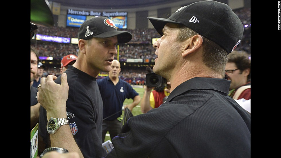 <strong>February 3: </strong>Baltimore Ravens head coach John Harbaugh, right, greets his brother, San Francisco 49ers head coach Jim Harbaugh, after the Ravens won Super Bowl XLVII in New Orleans.