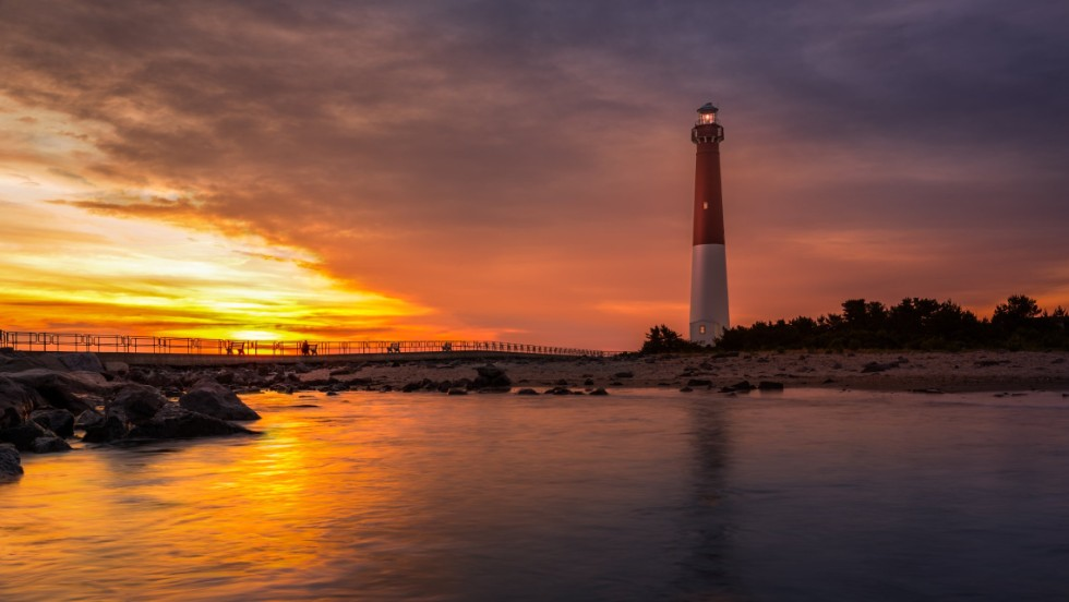 From elegant natural beauty to the kitsch of old-time beach towns, Jersey Shore has it all. Shown here is Barnegat Lighthouse, a historic landmark on the northern tip of Long Beach Island.