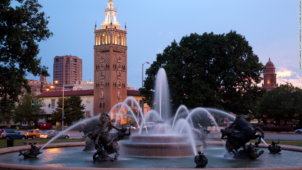 The J.C. Memorial Fountain (shown here) may be the best known of the city's fountains but visitors will find fountains all over Kansas City.