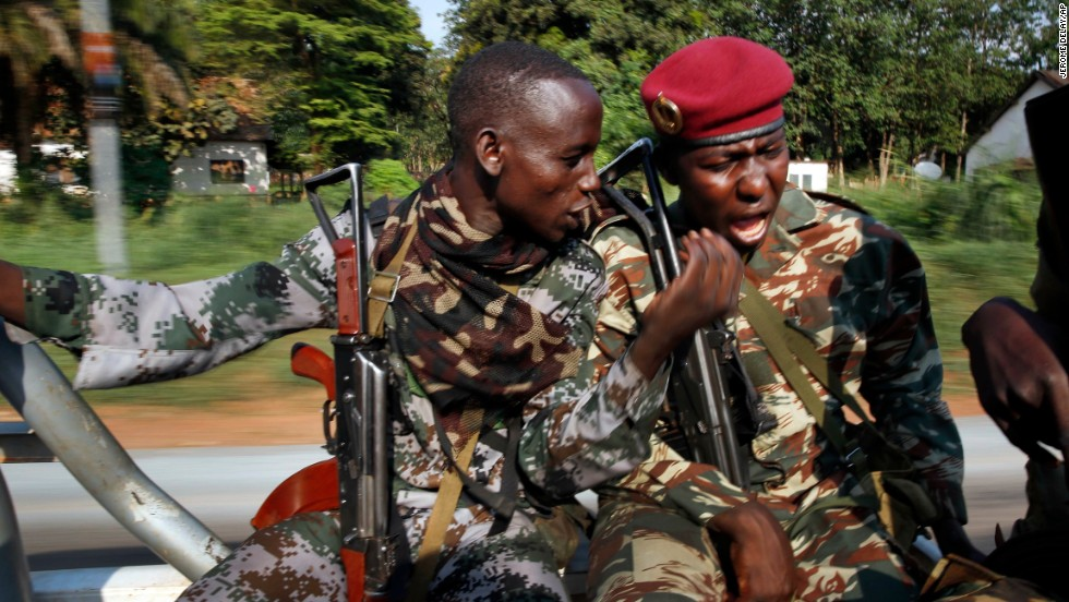 Seleka soldiers patrol Bangui on December 5.