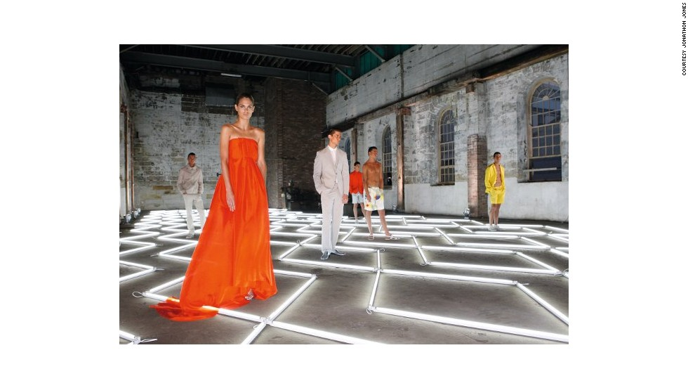 Artist Jonathan Jones made Calvin Klein's creations an integral part of his light installation for the brand's 2009 presentation on Cockatoo Island, Sydney.