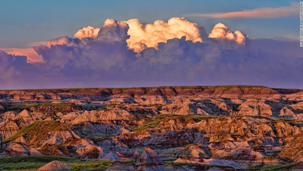 Changing light creates spectacular effects across the landscape of Dinosaur Provincial Park.