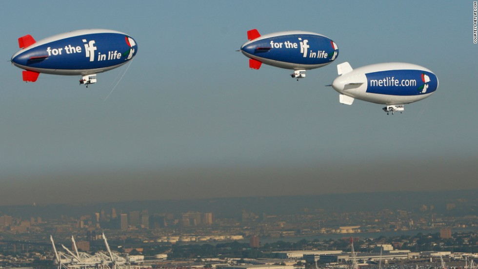 "<a href=""https://twitter.com/MetLifeBlimp"" target=""_blank"">MetLife</a> has been touring sporting events with its A-60 Plus model blimps since 1987. Its fleet includes ""Snoopy One,"" Snoopy Two"" and ""Snoopy J."""