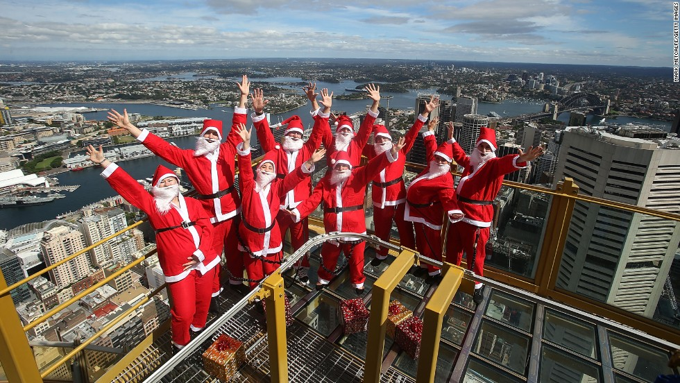 Santas visit the Skywalk at Sydney Tower on December 2 in Sydney.