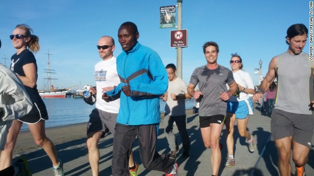 Shadrack Chepyego trains for the marathon, which will be held Sunday in Sacramento.
