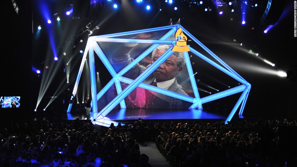 Mandela is honored at the the Grammy Nominations concert at the Nokia Theatre in Los  Angeles on December 6.