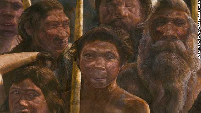 A drawing shows what the species of Homo heidelbergensis might have looked like 400,000 years ago.