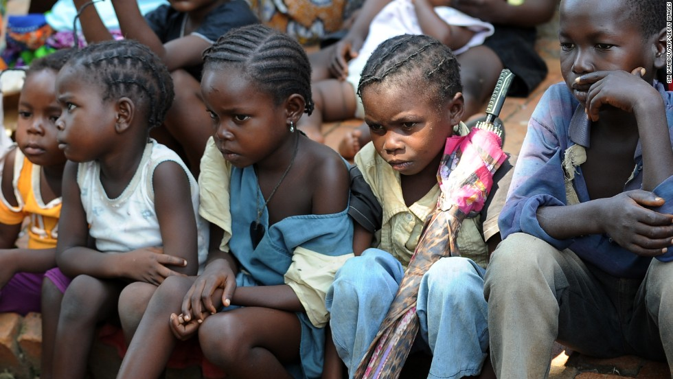 Children attend a mass given by the Archbishop of Bangui at Saint-Paul's parish on Sunday, December 8.