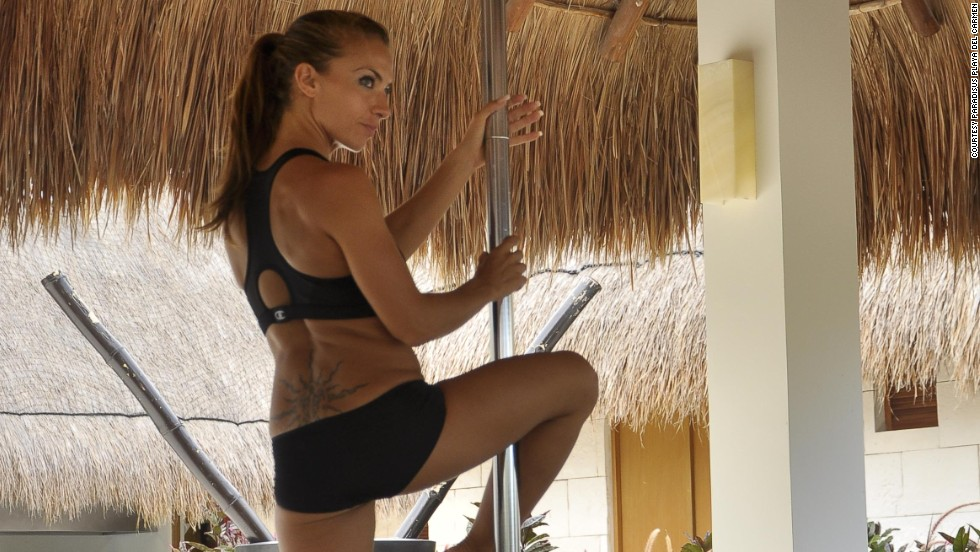 The hotel offers pole-dancing classes twice a week in an outdoor palapa. Guest experience manager Sadri Alexander admits when he first suggested the idea, people thought he was nuts. But the classes have become so popular that the hotel has had to add more poles.