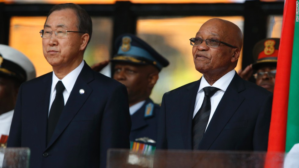 U.N. Secretary-General Ban Ki-moon, left, and South African President Jacob Zuma stand during the memorial service.