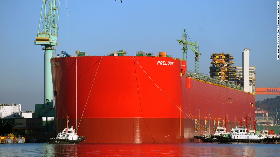 Longer than the Empire State Building is tall and more than six times heavier than the largest aircraft carrier when full, Shell's Prelude FLNG (Floating Liquefied Natural Gas) facility will become one of the world's largest floating objects when completed (expected to be in 2017). <br /><br />The 488-meter-long and 74-meter-wide structure is currently being assembled at Samsung's Geoje Island ship yard in South Korea and tentatively took to the water for the first time last week. <br /><br />Once building work is complete, the giant structure will be towed to a carefully selected spot roughly 125 miles off the northern Australian coast where it will extract and process gas from deep beneath the ocean surface.