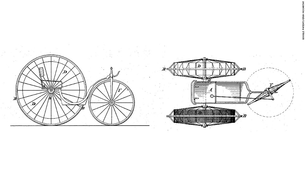 "<strong>9. ""IMPROVEMENT IN VEHICLES""  </strong> If cow power isn't your thing, go to the dogs. In 1875, Parisian inventor Narcisse Hueet patented the ""cynophere,"" a dog-powered velocipede. Hueet wrote, ""My invention contemplates the employment of dogs or other animals, working within a cage or cages, forming part of the wheels of the vehicle to be propelled,"" Strangely, the French Society for the Prevention of Cruelty to Animals gave his invention a thumbs up."