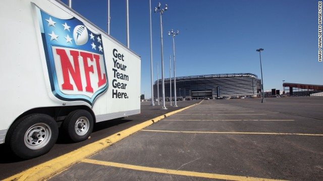Of 28,000 parking spaces at MetLife Stadium in East Rutherford, New Jersey, 15,000 will be used for security and media during Super Bowl XLVII.
