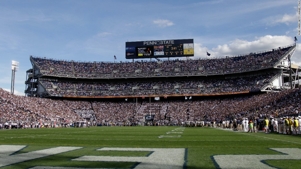 Beaver Stadium is another giant arena used by a school team. The Penn State Nittany Lions can be backed by up to 106,000 supporters.