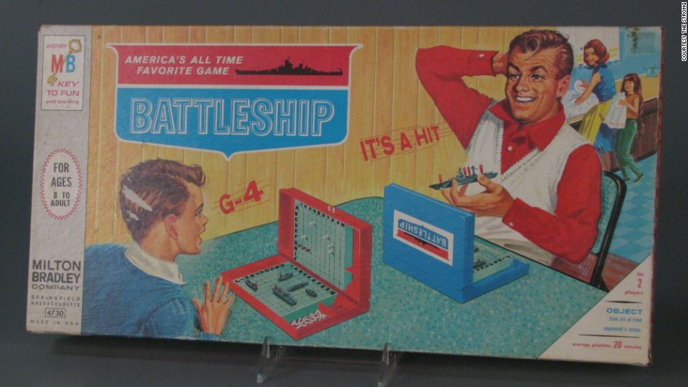 Battleship board game by Milton Bradley in 1967. Battleship dates back to at least World War I as a pencil-and-paper-based game.  However, Milton Bradley published a plastic version in 1967. In the somewhat dated -- and many would say sexist -- box cover picture, a father and son play the game while a mother and daughter wash dishes in the background.
