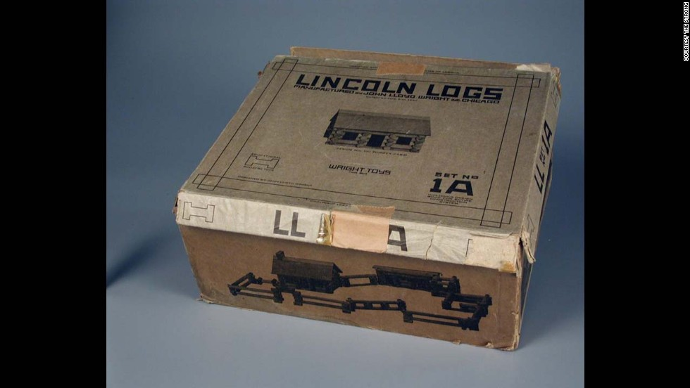 Lincoln Logs construction set by John Lloyd Wright Inc. in 1920. Developed by John Lloyd Wright, son of architect Frank Lloyd Wright in 1916. Wright Jr. used the likeness of our 16th president who began his life in a log cabin.