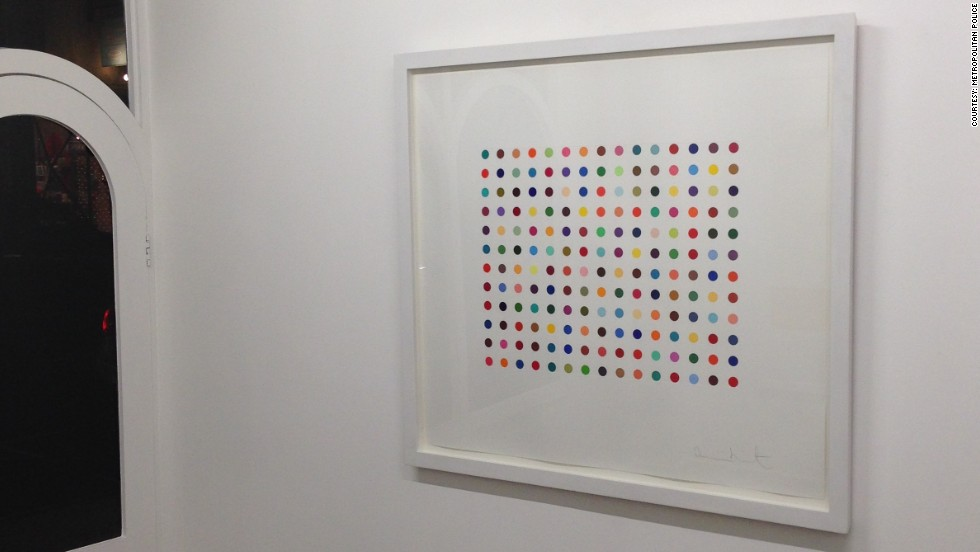 "Two artworks by Damien Hirst have been stolen from a London Gallery. ""Pyronin Y"", seen hanging in the Exhibitionist Gallery before the theft on December 9, 2013, is worth £15,000 ($24,565)."