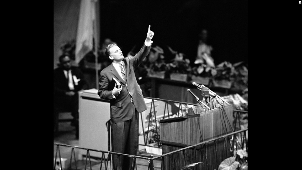 "Graham speaks at Madison Square Garden in New York on May 15, 1957, opening his 16-week crusade for ""A Spiritual Revolution in the City."""