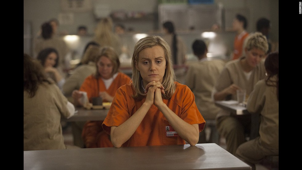 "Nominated for best actress in a television series -- drama were Taylor Schilling in ""Orange Is the New Black"" (pictured), Julianna Marguiles in ""The Good Wife,"" Tatiana Maslany in ""Orphan Black,"" Kerry Washington in ""Scandal"" and Robin Wright in ""House of Cards."""