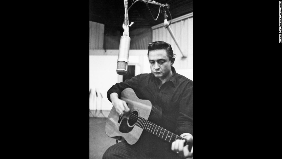 Cash records in the studio circa 1960.