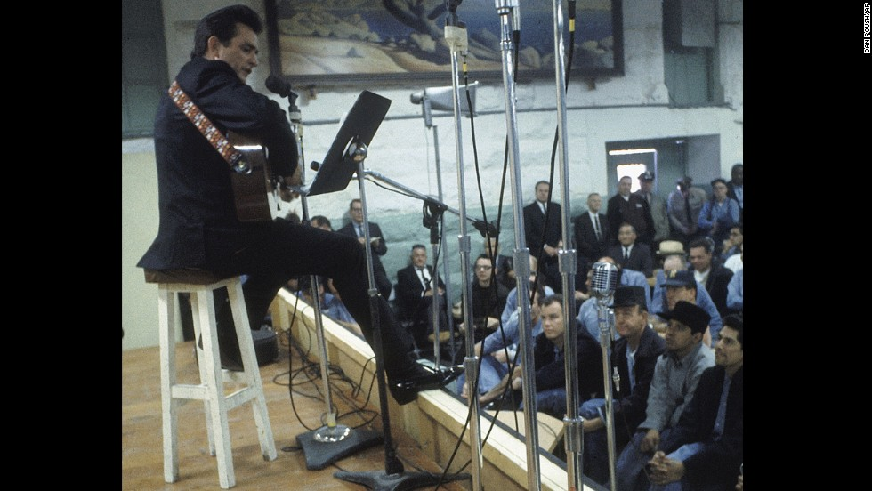 "Cash performs for prisoners at Folsom Prison in California on January 13, 1968.  The performance was recorded for his live album ""Johnny Cash at Folsom Prison."""