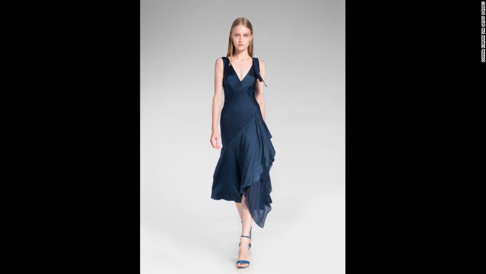 Deep blues -- like this Donna Karan resort 2014 dress -- are also considered to be representative of the holiday season.