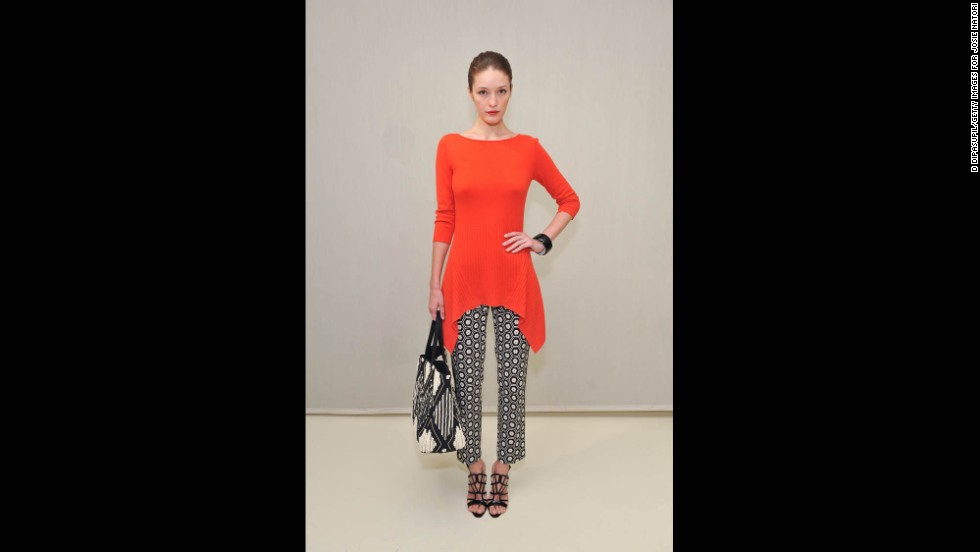 """A bright red-and-black combination, like this Josie Natori resort 2014 ensemble, is an example of a more casual take on """"festive."""""""