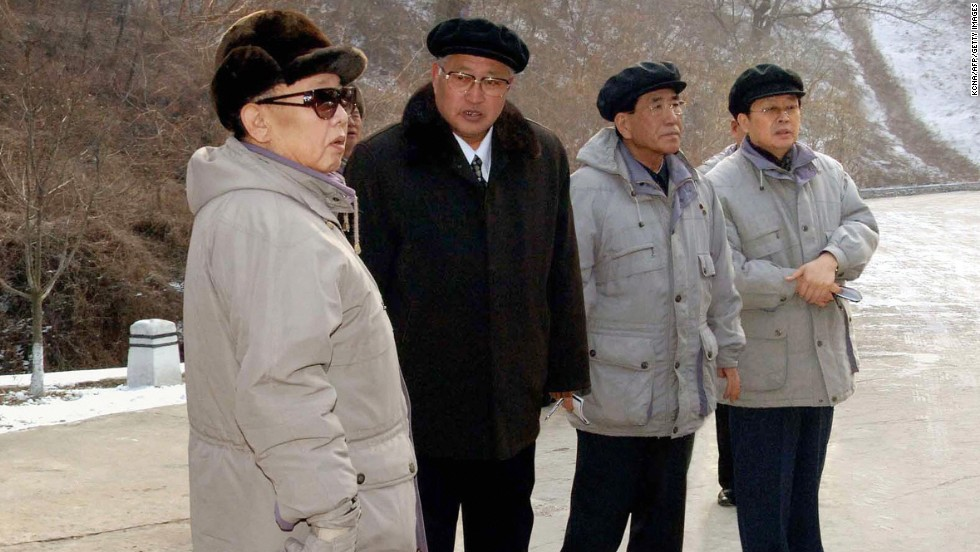 Jang, far right, appeared with Kim Jong Il and other officials during an inspection of the Mt. Ryongak Recreation Ground in Pyongyang, in an image released on January 18, 2009, by the official Korean Central News Agency.