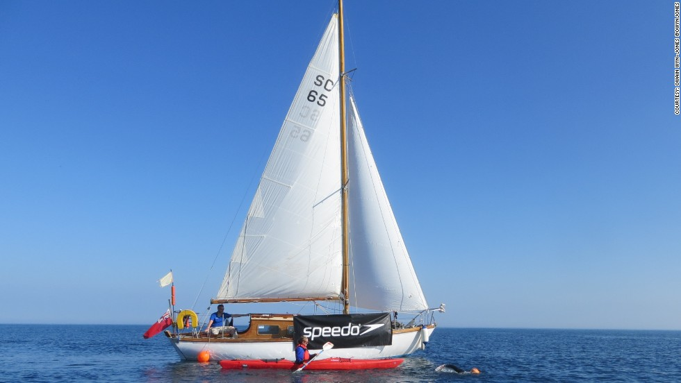 The support boat which accompanied Conway throughout his epic swim has now been sold to fund his future home.