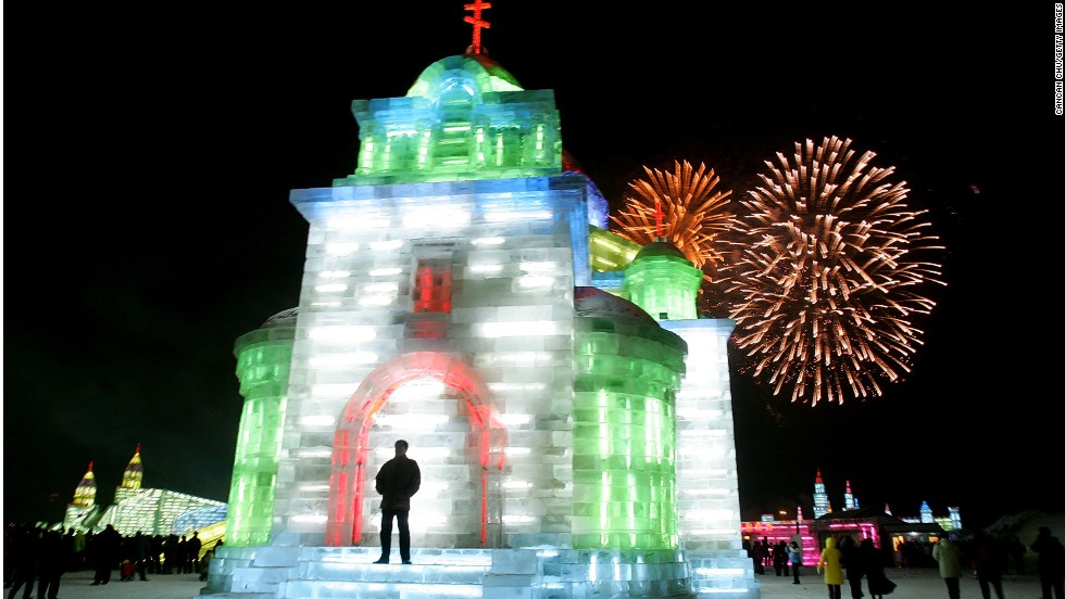 At Harbin's annual Ice and Snow Sculpture Festival, visitors can see larger-than-life ice sculptures lit either by lasers or using traditional lanterns.