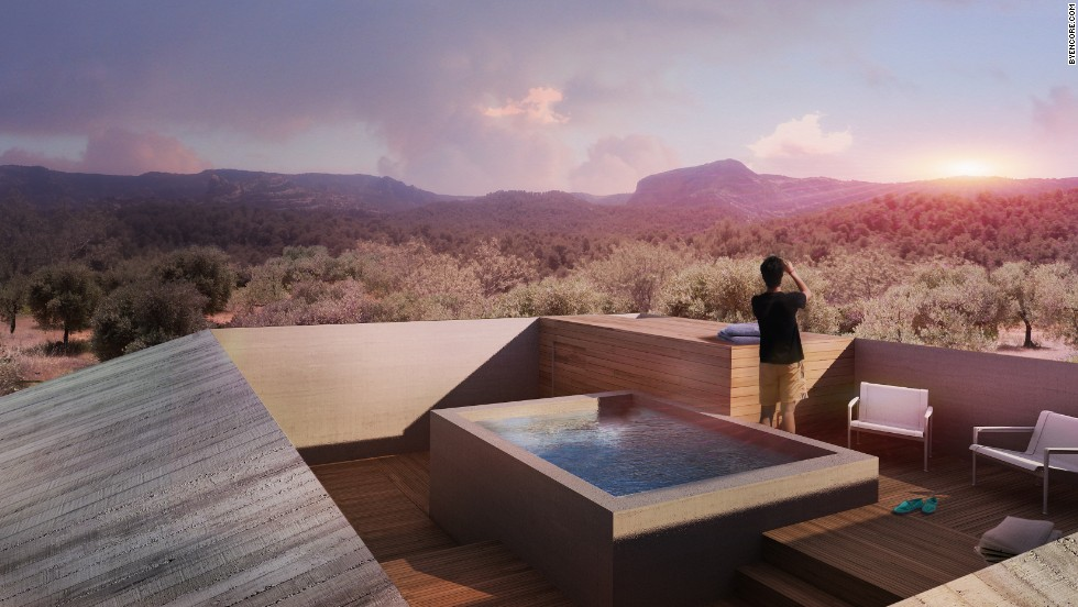 """A rooftop terrace has two perks: a swimming pool and a panoramic view. <br />According to Lee, it's not just about relaxation. As he says: """"Once we had decided on an elevated round-shaped plan to capture the panoramic view, we worked on reinforcing and articulating the initial decisions, such as having a small footprint on the ground or having an outdoor jacuzzi room on the roof to exacerbate the contrast with the larger main floor sandwiched in between."""""""