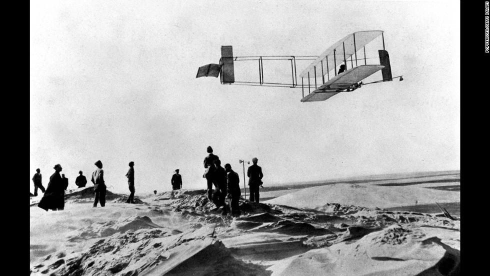 Orville flies at Kitty Hawk in 1911.