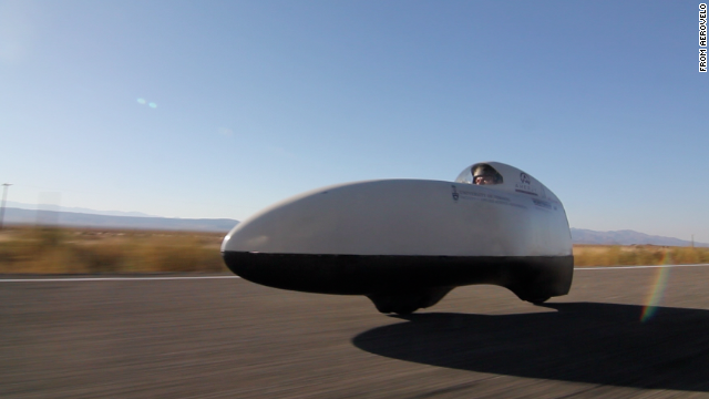 Aerodynamic bicycles such as this AeroVelo model can hit speeds of more than 70 mph on flat ground.