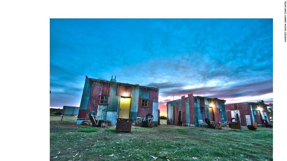 "At Emoya Luxury Hotel in South Africa, guests stay in facsimile shacks made of corrugated iron. ""Now you can experience staying in a Shanty within the safe environment. ... This is the only Shanty Town in the world equipped with under-floor heating and wireless internet access!"" reads the Shanty Town homepage."