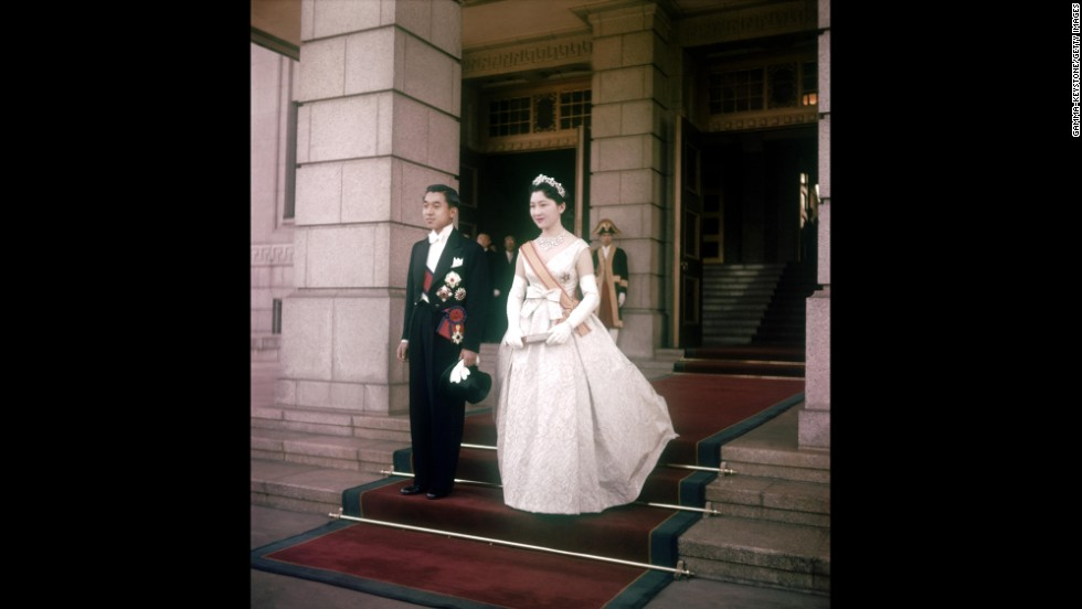 Akihito during his wedding to Michiko Shoda in 1959. He is the first Japanese crown prince to marry a commoner.