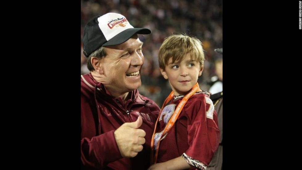 Florida State University head coach Jimbo Fisher will face Auburn University in the BCS National Championship game on January 6. But Fisher is fighting a tougher opponent off the field, in hopes of saving his 8-year-old son Ethan.