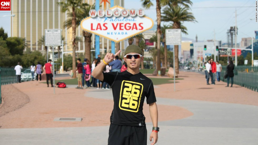 On Thanksgiving Day, Jayson Black, 28, began his mission to raise awareness and money for a Las Vegas food bank by running 26 marathons in 26 days for a total of 681.2 miles.