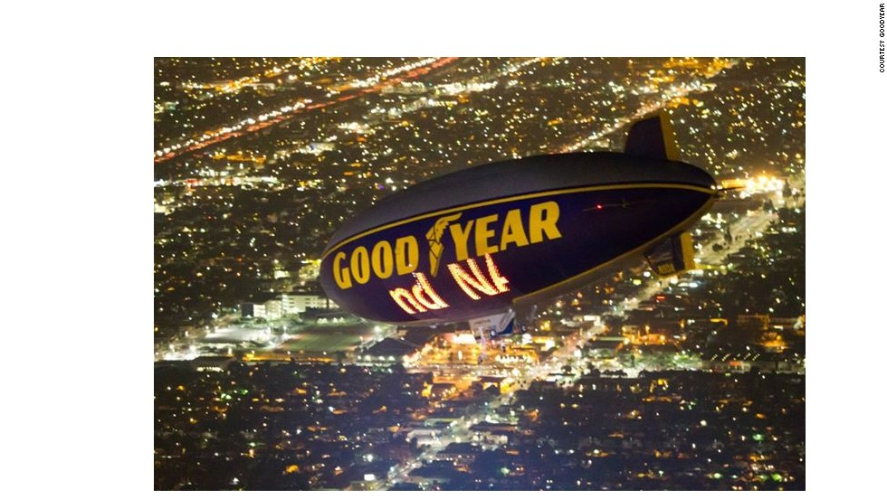 Dazzling computer-controlled signage called Eaglevision is visible up to a mile away, according to Goodyear.