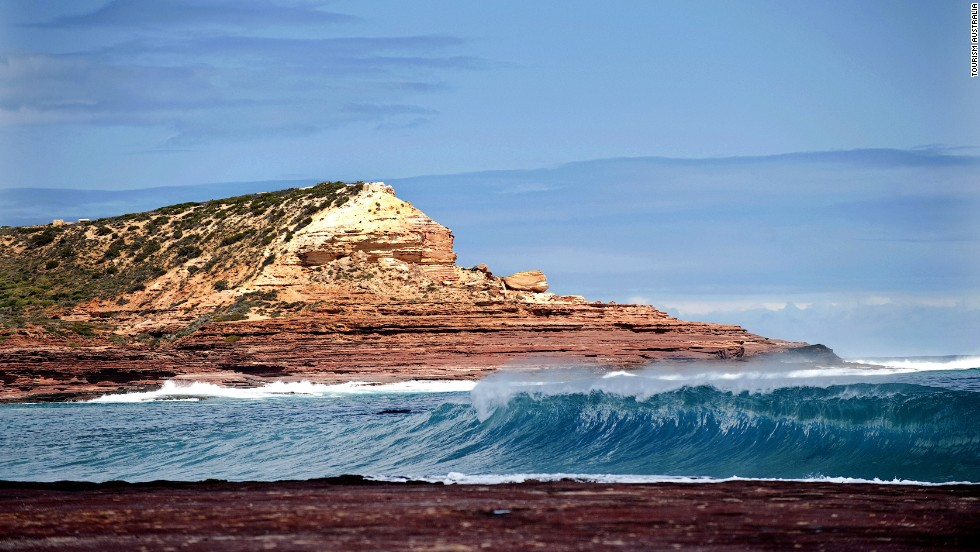 Red Bluff rises above the water in Kalbarri National Park in Western Australia.
