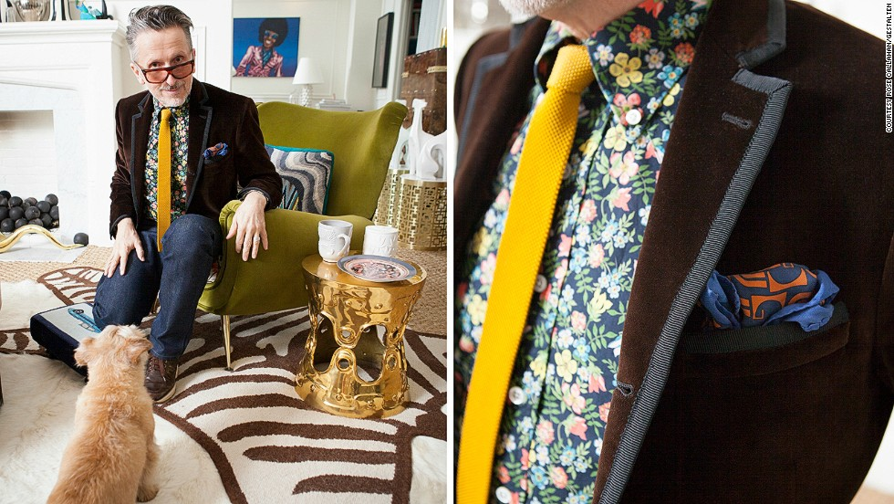 "<em>Simon Doonan</em><br />Simon is the creative ambassador for Barney's department store, and author of several books on life and fashion. With his husband, designer Jonathan Adler, he lives in an eclectic and flamboyant technicolor dream of an apartment. Doonan loves floral shirts, all things Liberace, and Ed Hardy t-shirts, which he says he wears with the purpose of annoying everybody else in the world of fashion. ""If you're in the fashion biz, putting on an Ed Hardy shirt is the most transgressive thing you can do,"" he explains"