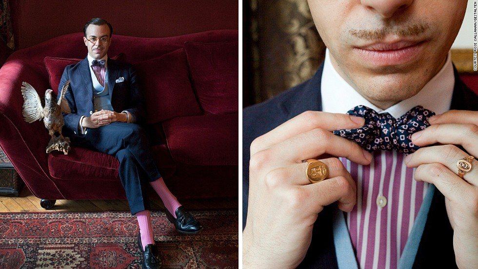 """<em>Massimiliano Mocchia di Coggiola </em><br /><br />Massimiliano, a young Italian aristocrat who lives in Paris, possesses an enviable wardrobe and an exhaustive knowledge of the history of dandyism. He is famous for his soirees , including a """"Sinking of the Titanic"""" party to which guests came in vintage sleepwear, the floor was covered in smashed crockery, a giant fake iceberg had been constructed in the living room, and all the pictures on the wall were turned at an angle to simulate the feeling of a sinking ship. <br />"""
