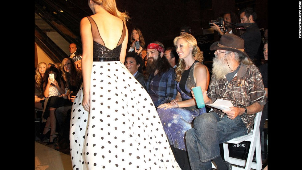 The Robertsons watch as Sadie Robertson, Willie and Korie's daughter, walks in a New York fashion show in September.