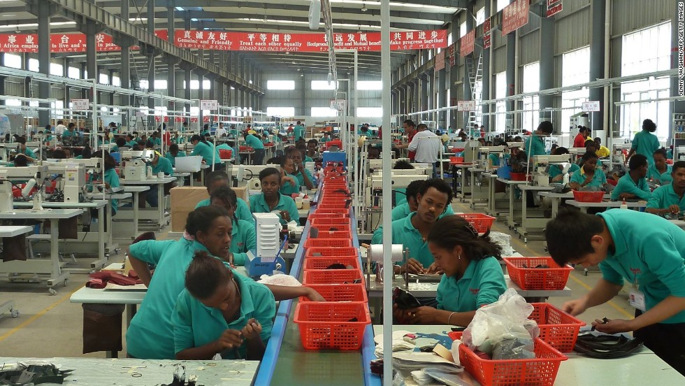 Workers on the assembly line at the Huajian shoe factory in Dukem, Ethiopia. Chinese company Huajian is one of the factories operating in the Chinese-built Eastern Industry Zone -- Ethiopia's first industrial park.