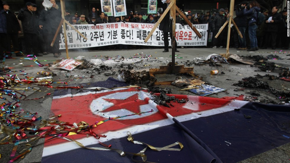 Protesters attend an anti-North Korea protest in Seoul on December 17. Such protests are common during North Korean festivals and anniversaries.