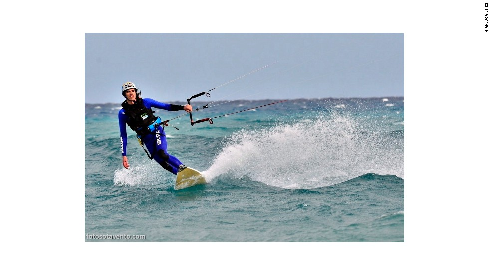 Gijsbers takes his turn on the kiteboard during the relay crossing of the Atlantic.