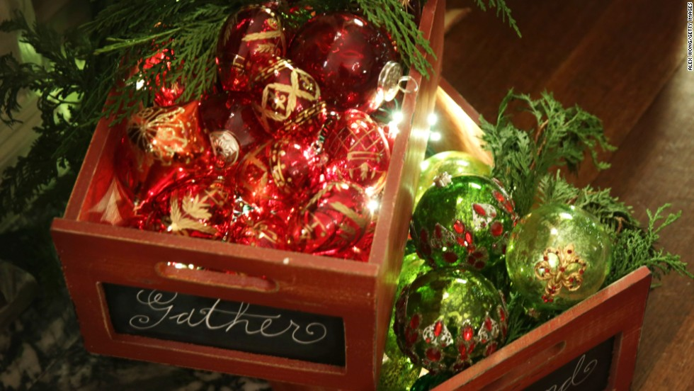 Decorations sit in the library of the White House during the preview event on December 4.